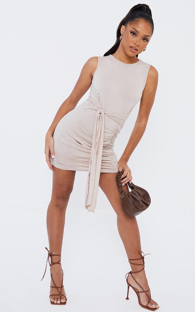 Stone Jersey Sleeveless Tie Waist Bodycon Dress 1