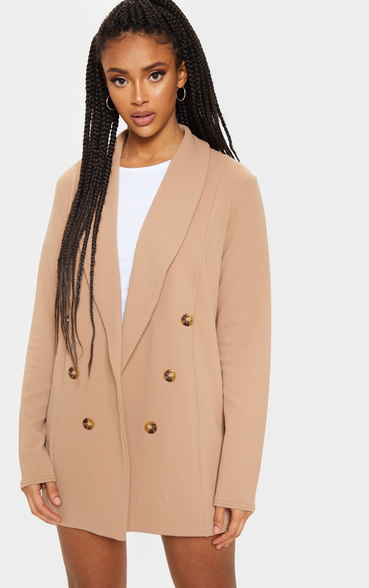 Camel Oversized Button Detail Blazer 1