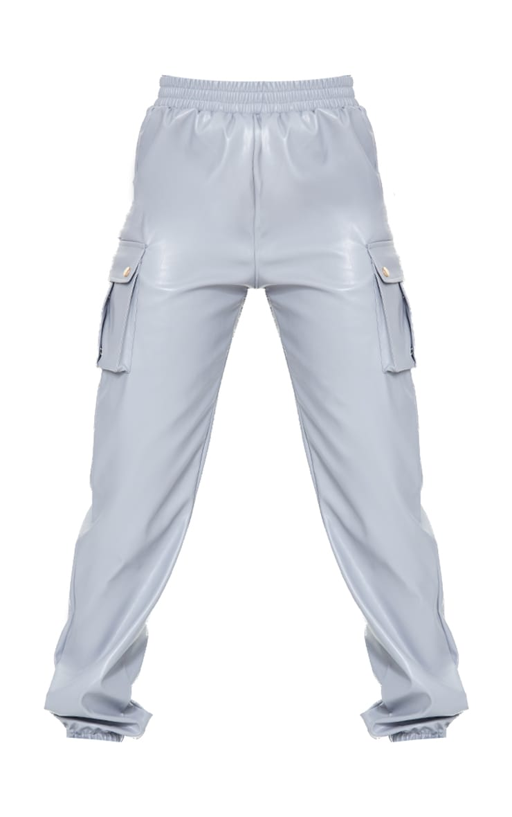 Tall Grey Faux Leather Pocket Detail Joggers 5