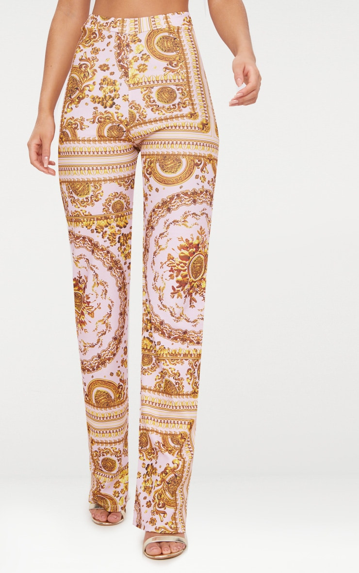 Baby Pink Scarf Print Straight Leg Trousers  2