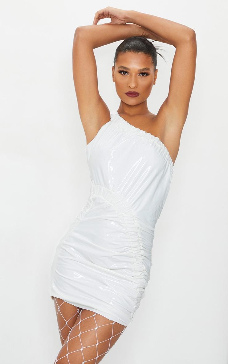 White Vinyl One Shoulder Asymmetric Ruched Bodycon Dress 1
