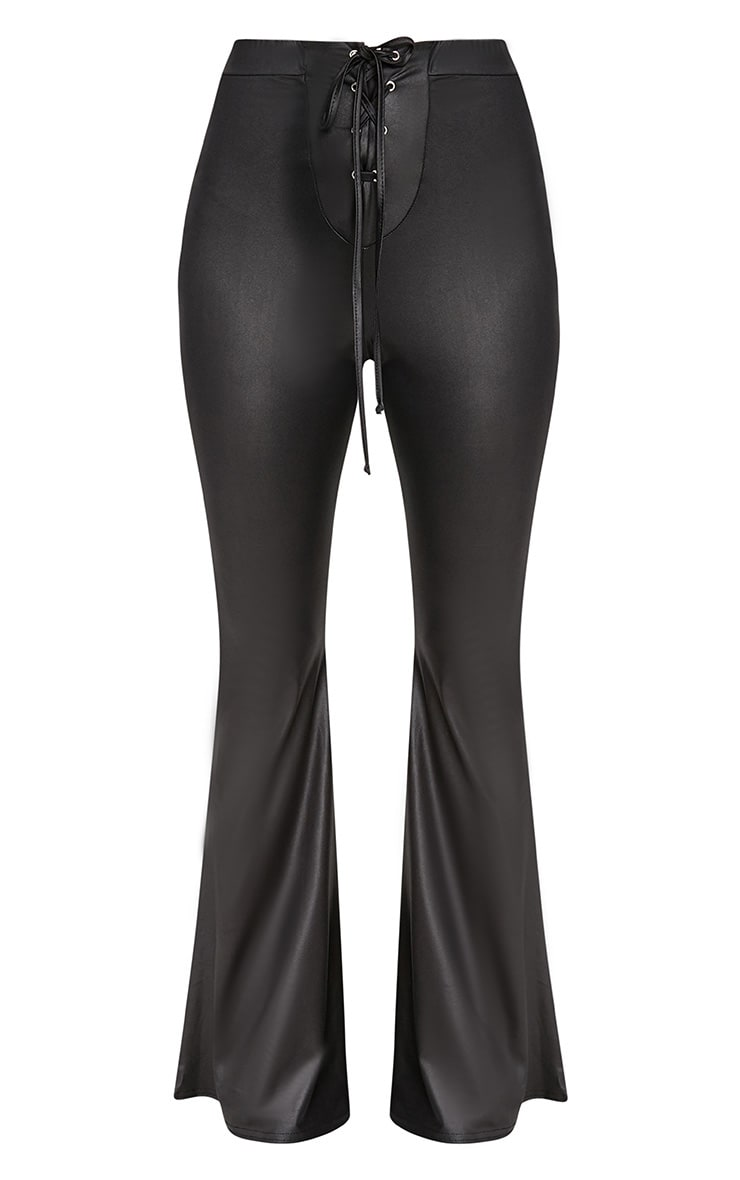 Black PU Lace Up Flared Trousers 3