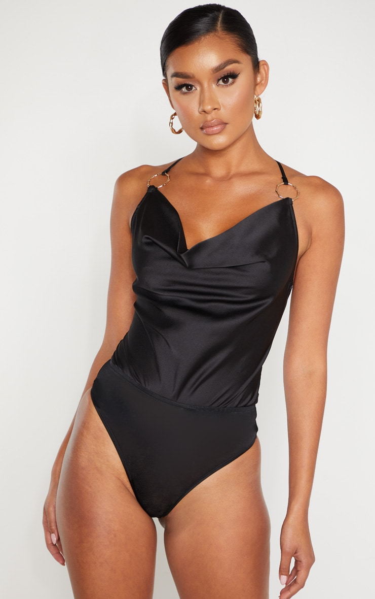 Black Satin Cowl Neck Ring Detail Bodysuit  2