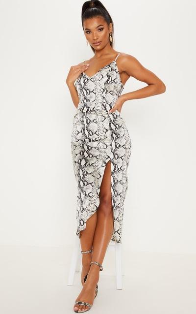 6ebc8afc1ea Grey Snake Print Satin Midi Slip Dress