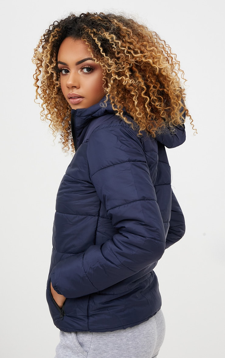 Navy Hooded Puffer Jacket 2