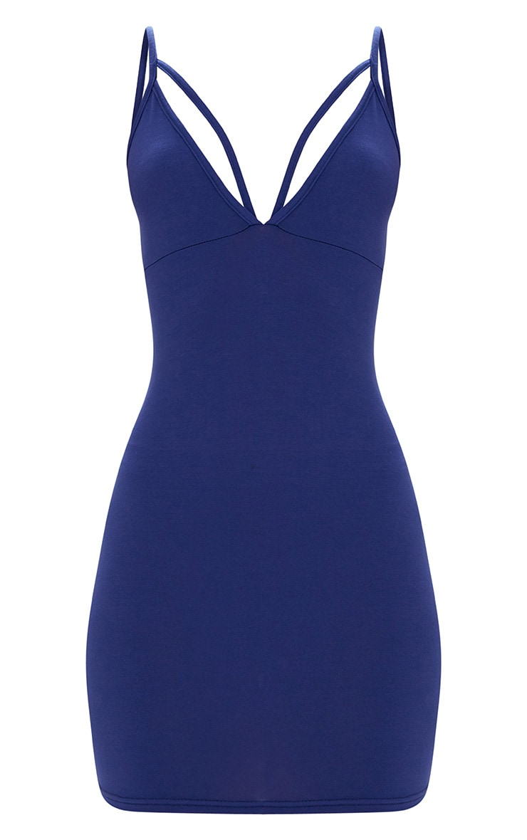 Navy Strap Detail Bodycon Dress 3