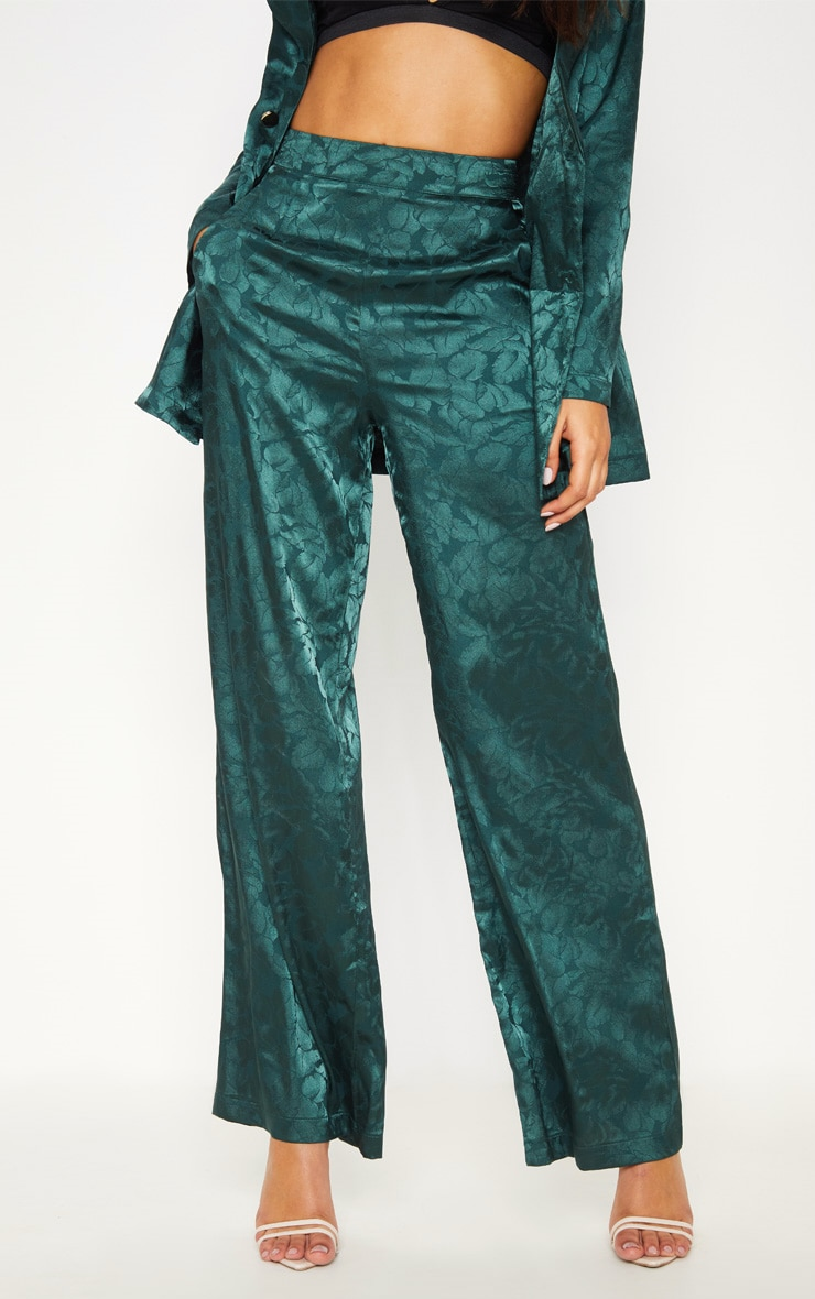 Emerald Green Floral Print Satin Pants  2
