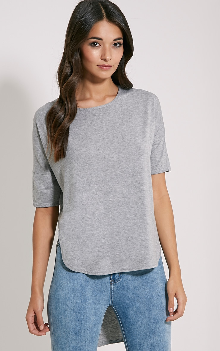 Basic Grey Dip Hem Loose T-Shirt 1