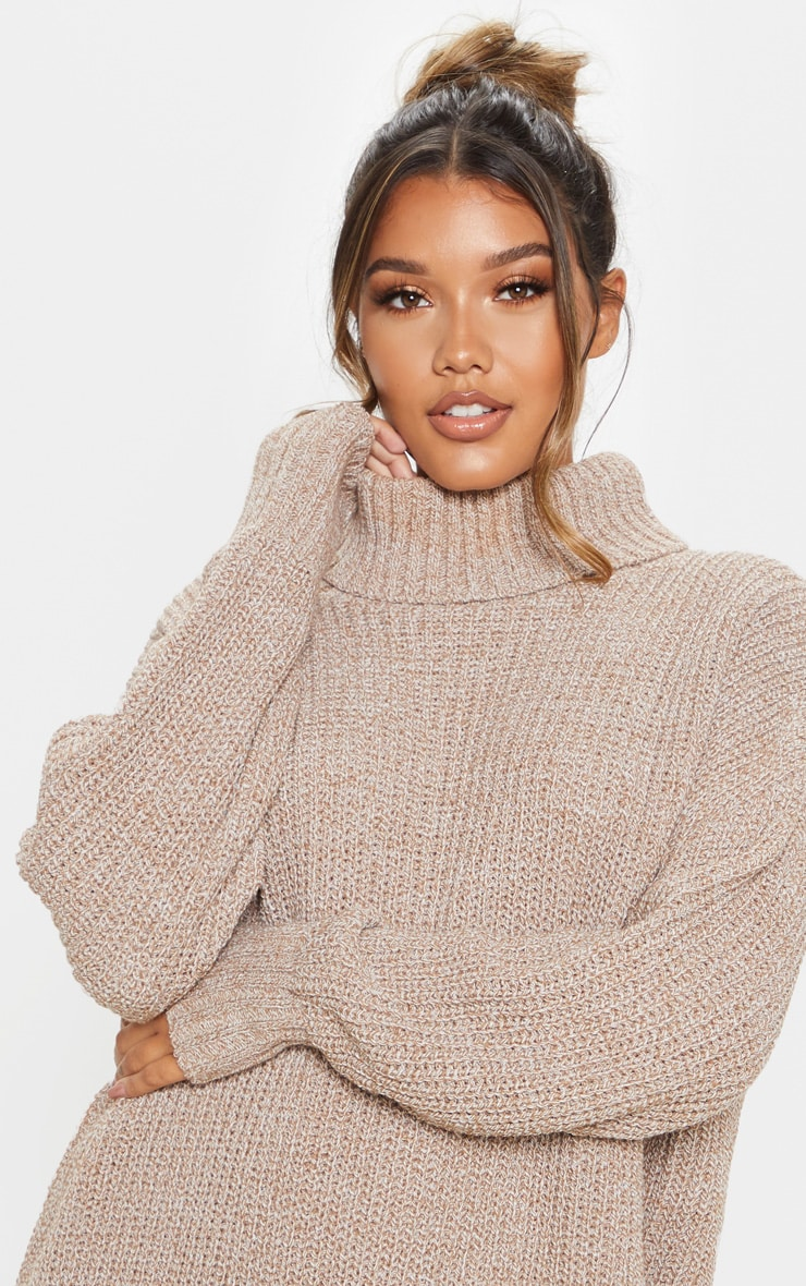 Camel Oversized High Neck Knitted Sweater Dress  5