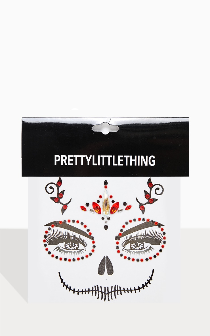 PRETTYLITTLETHING Red Skull Queen Face Jewels 2