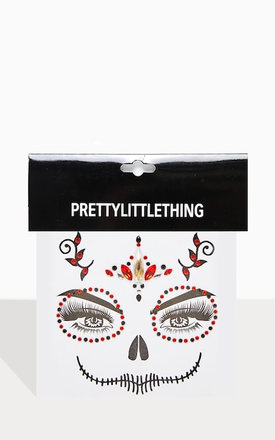 PRETTYLITTLETHING Red Skull Queen Face Jewels