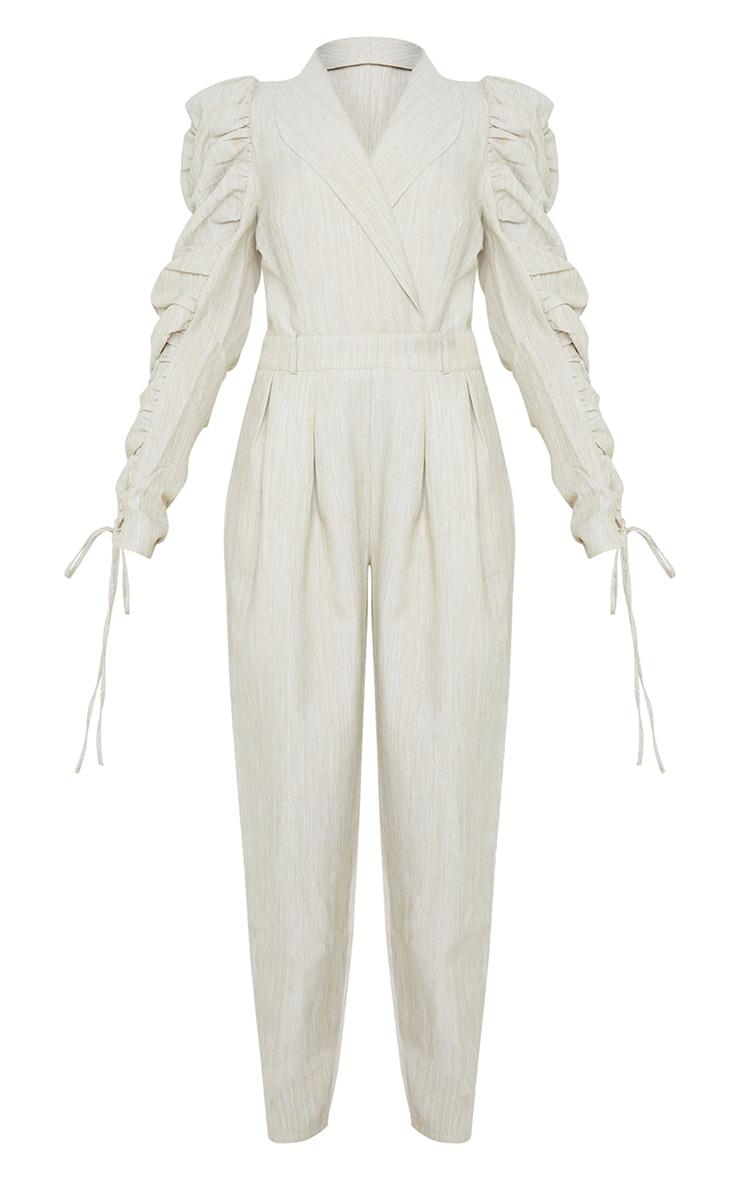 Beige Ruched Sleeve Blazer Jumpsuit 5
