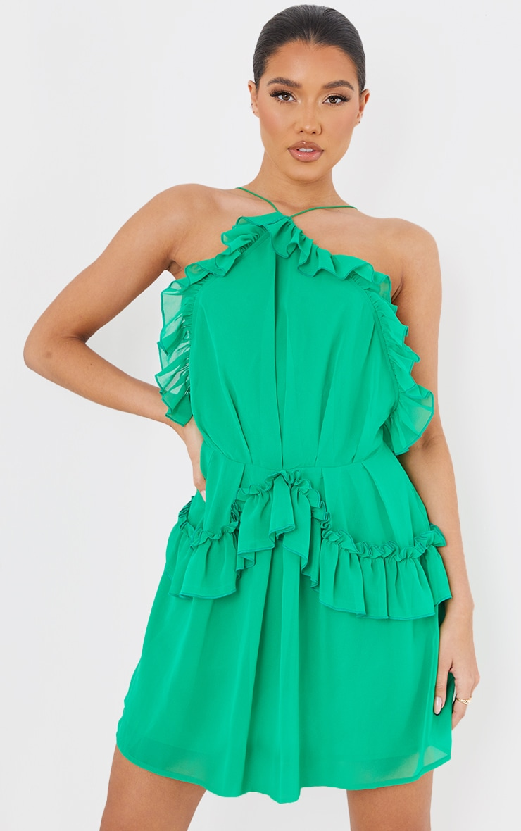 Bright Green Printed Frill Detail Strappy Shift Dress 3