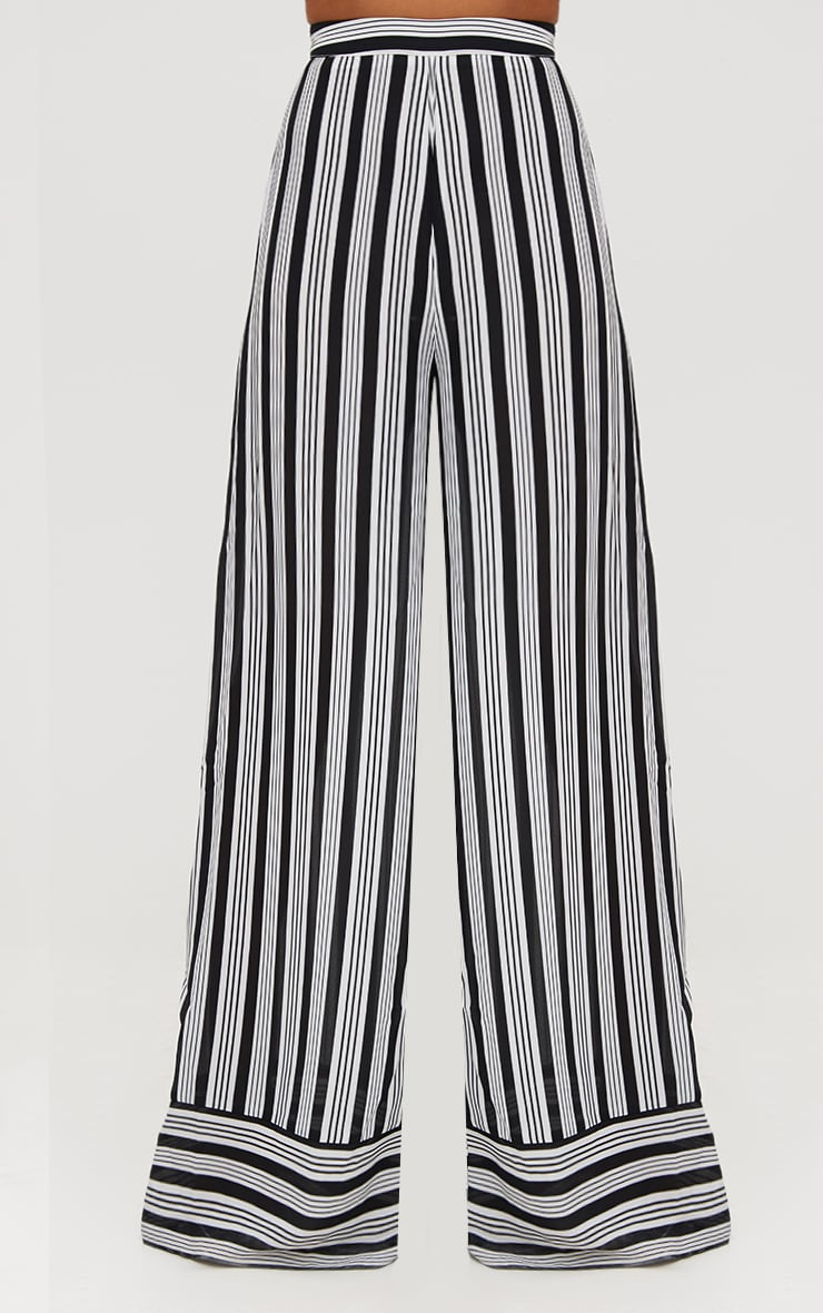 Black Contrast Stripe Mix Wide Leg Pants 2