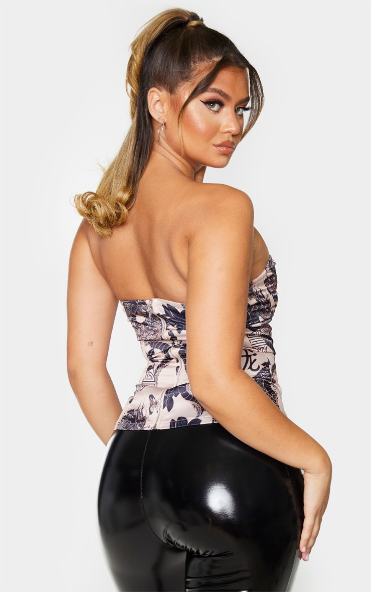 Nude Woven Printed V Wire Bandeau Structured Corset 2