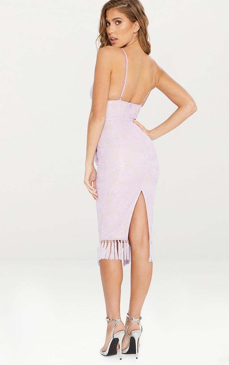 Pastel Lilac Lace Tassel Trim Plunge Midi Dress 2