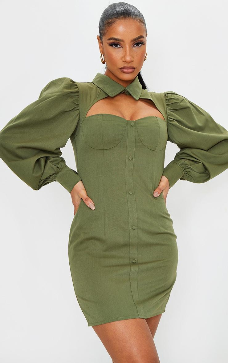 Khaki Cut Out Bust Detail Bodycon Dress 1