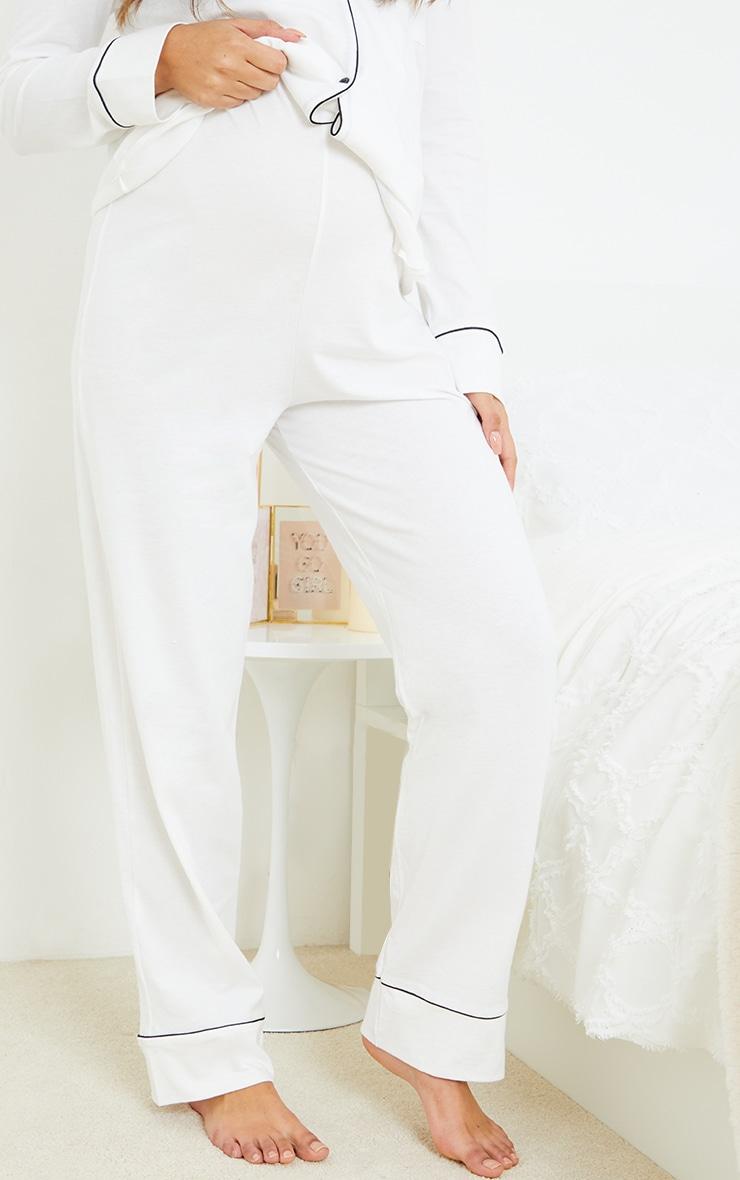 Maternity White Wide Leg PJ Pants 2