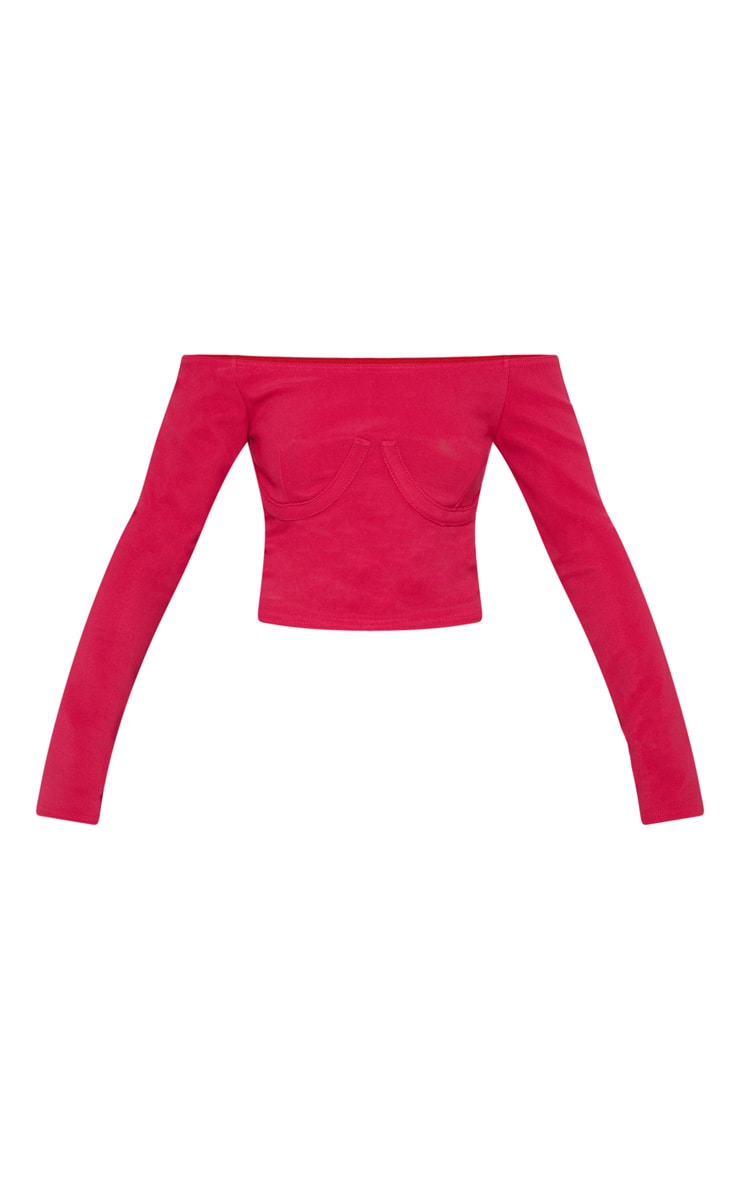 Hot Pink Textured Rib Cup Detail Long Sleeve Bardot Top 3