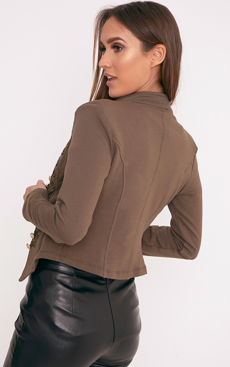 Zoeey Khaki Slim Fit Cropped Military Jacket 2