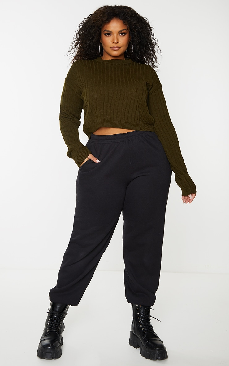 Plus Khaki Cropped Rib Knit Sweater
