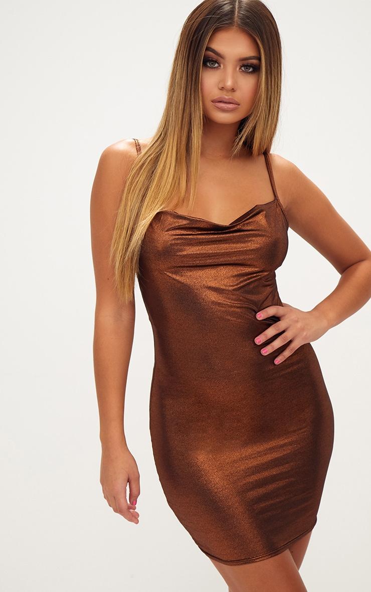 Bronze Metallic Cowl Neck Strappy Bodycon Dress 1