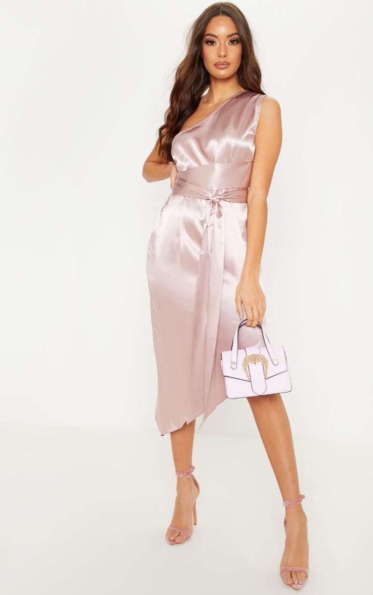 Rose Satin One Shoulder Tie Waist Asymmetric Hem Midi Dress 1