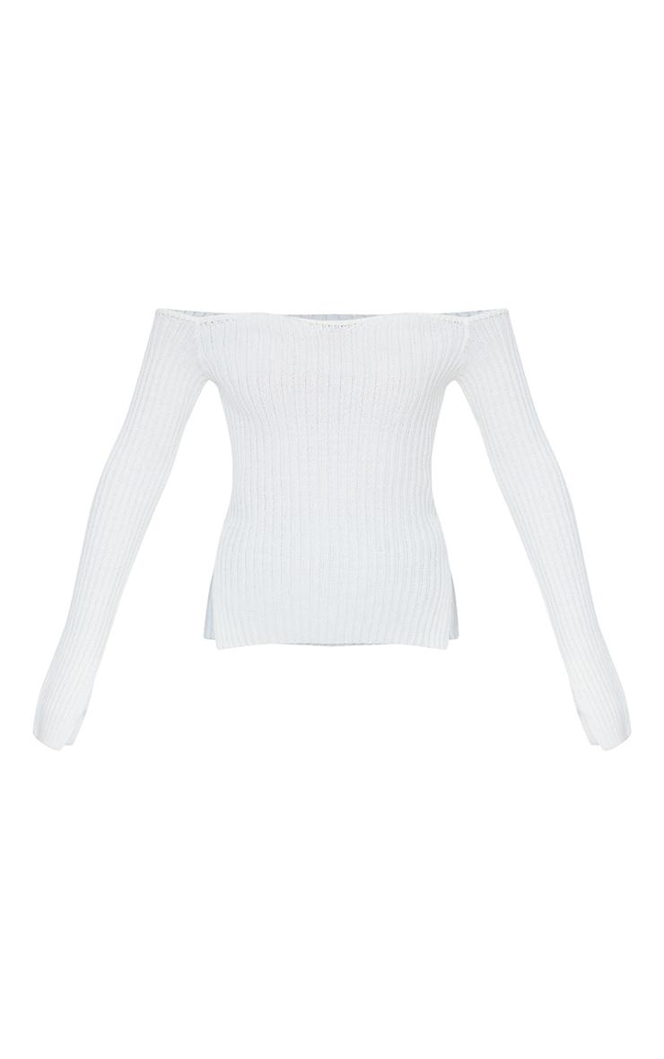 Cream Off Shoulder Sweetheart Neckline Knitted Jumper 5