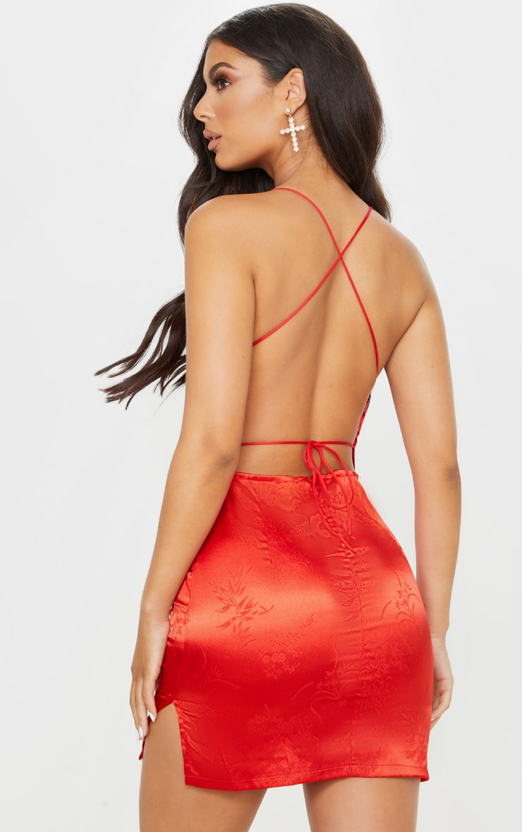 Red Satin Mixed print Lace Up Back Bodycon Dress 1