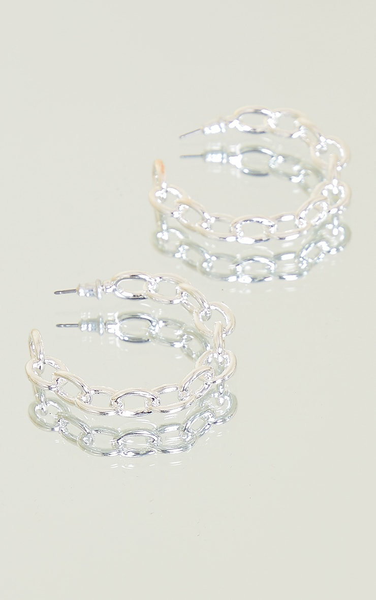 Silver Small Chain Hoop Earrings 1