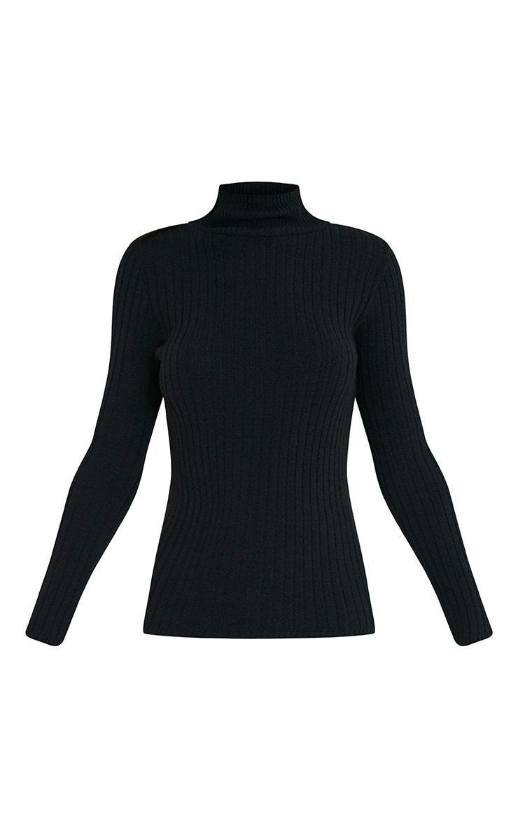 Ulanie Black Turtle Neck Ribbed Knitted Jumper 3