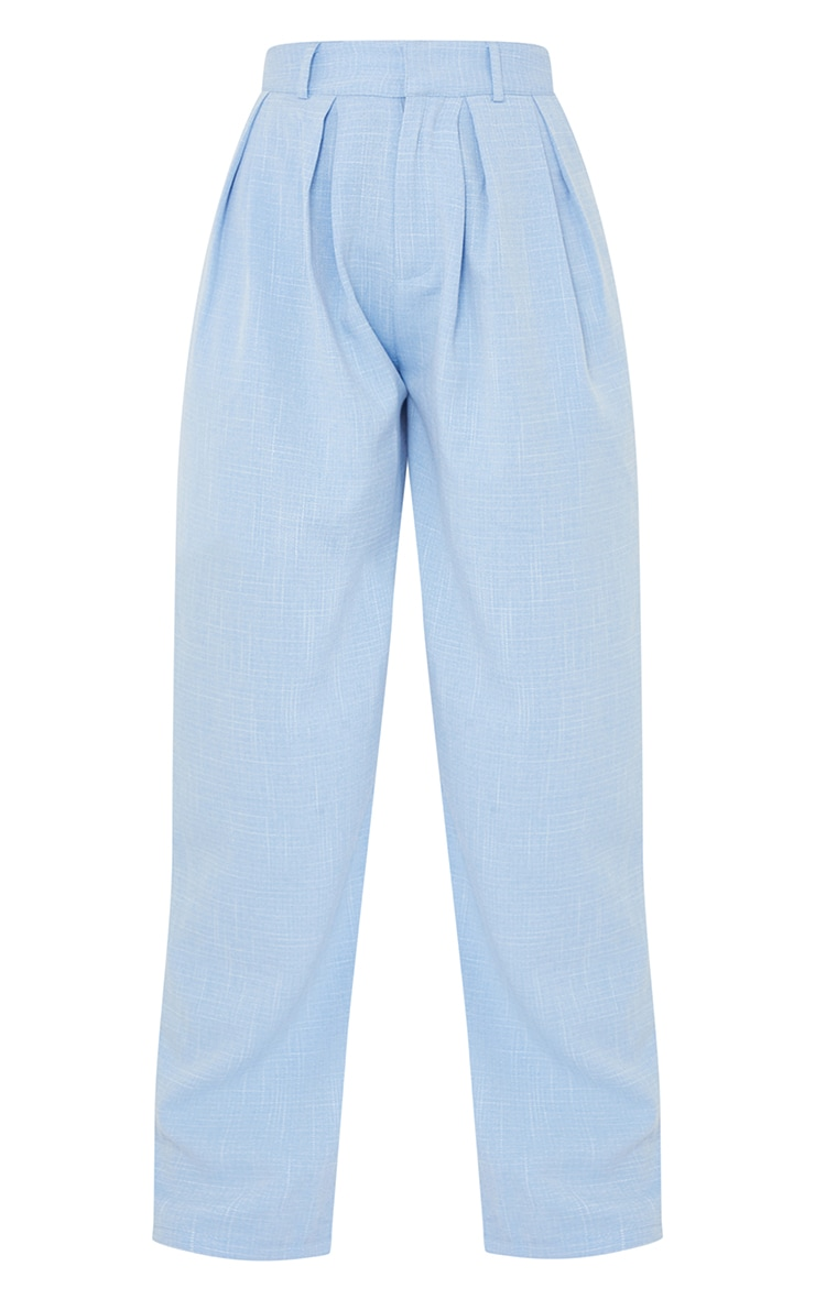 Pale Blue Woven Textured High Waisted Cigarette Trousers 5