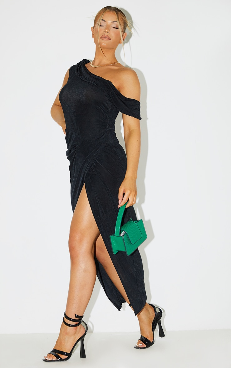 Black Recycled Textured Slinky Off Shoulder Midaxi Dress 3