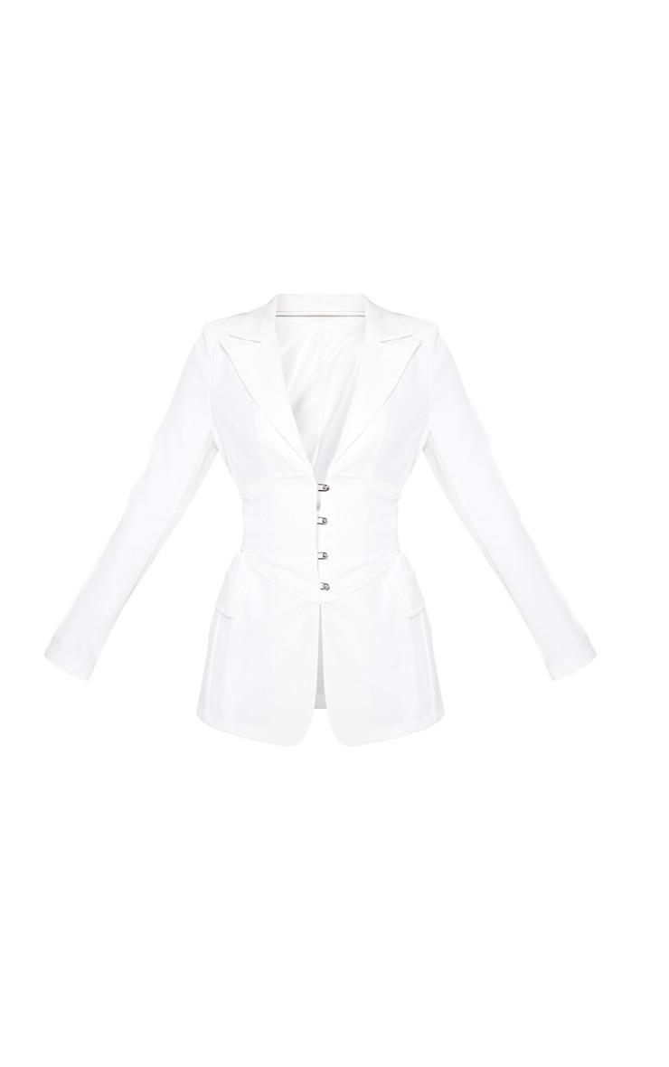 Petite White Corset Woven Blazer 3