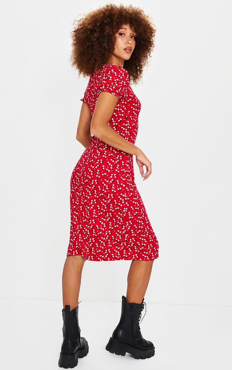 Red Ditsy Print Short Puff Sleeve Midi Dress 2