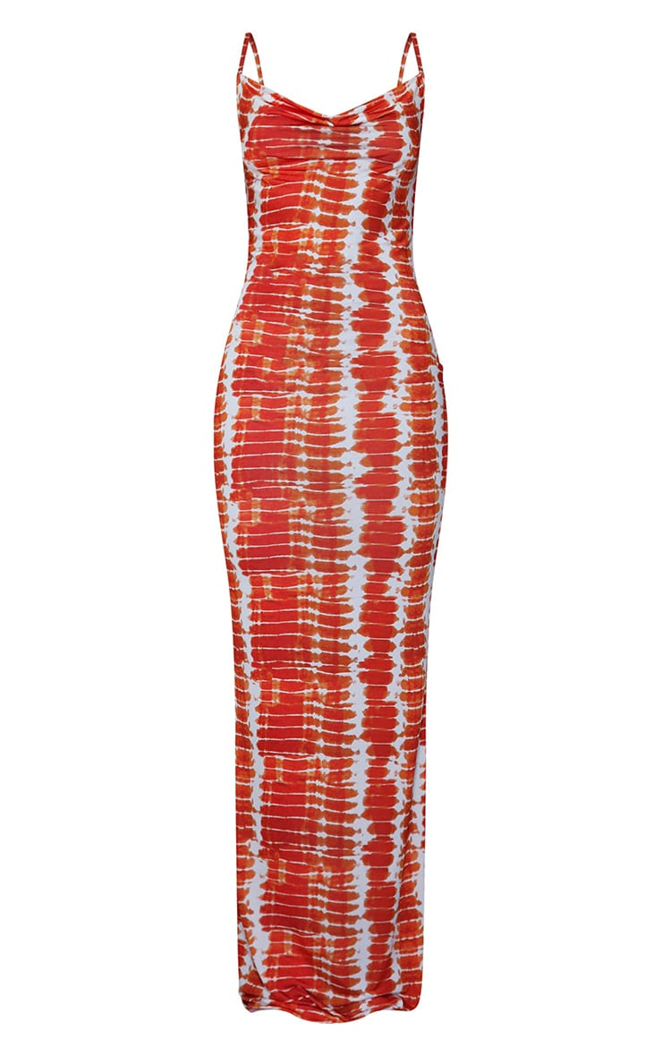 Orange Tie Dye Print Cowl Neck Strappy Maxi Dress 5