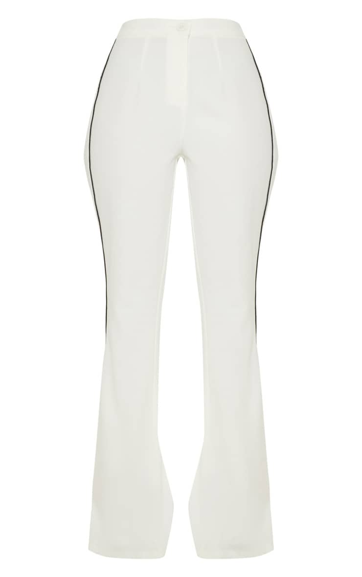 Cream Contrast Trim Flared Trouser 3