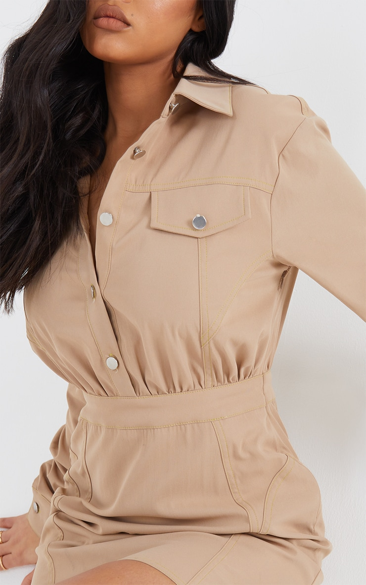 Stone Woven Button Pocket Detail Contrast Stitching Bodycon Dress 4