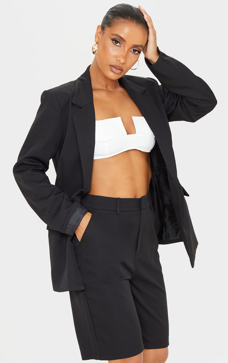 Black Woven Fitted Waist Suit Blazer image 3