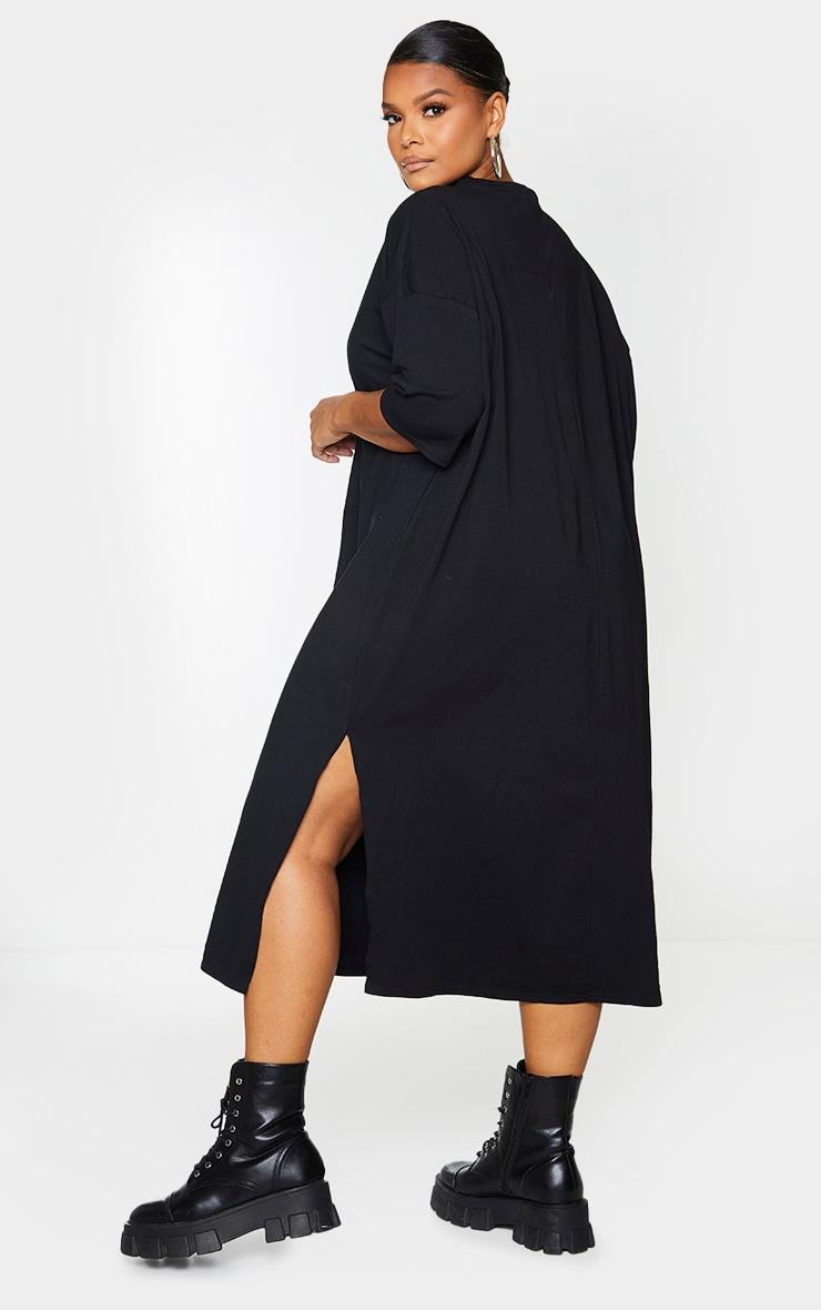 Plus Black Oversized Midi T Shirt Dress 2