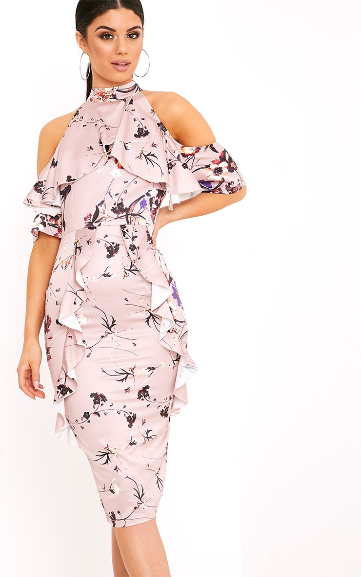 Esmie Blush Floral Cold Shoulder Midi Dress 1