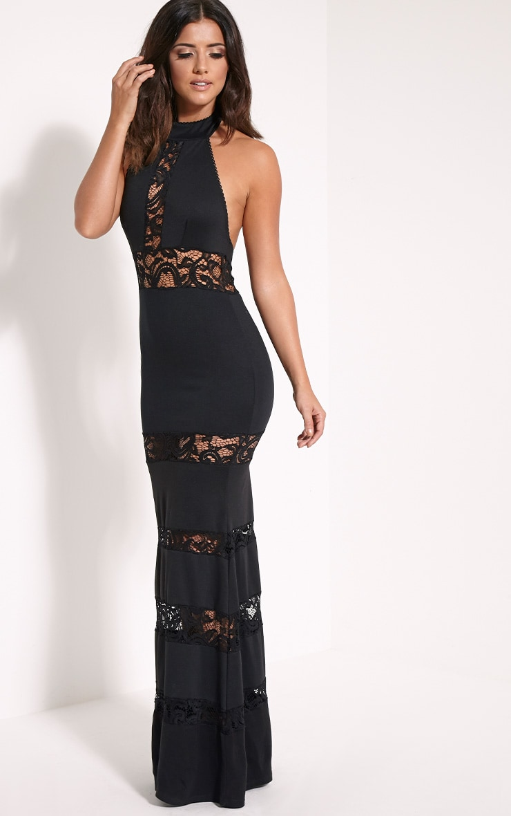 Loucie Black Halterneck Lace Insert Maxi Dress 4
