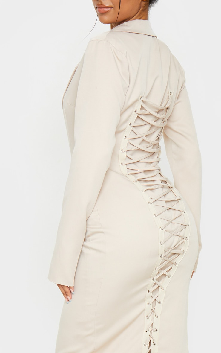 Nude Long Sleeve Lace Up Back Detail Midi Blazer Dress 4