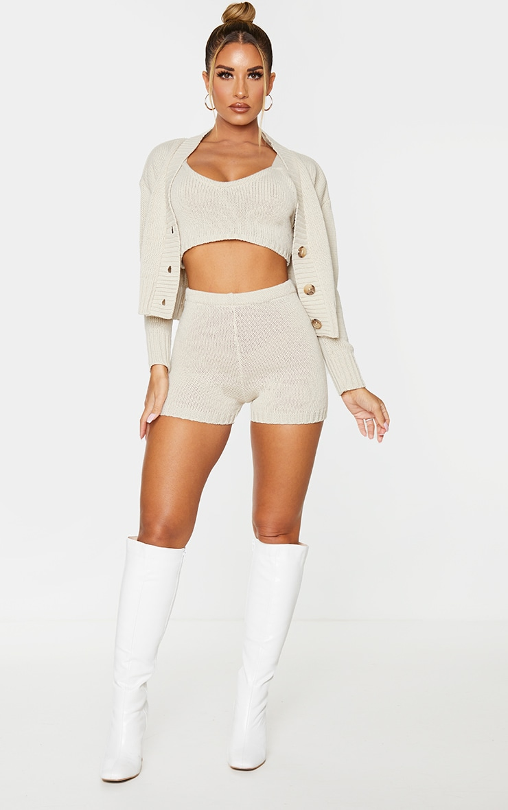 Cream Knitted Button Crop Cardigan 3