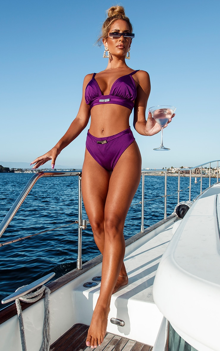 Purple Metal Trim High Waist Bikini Bottom