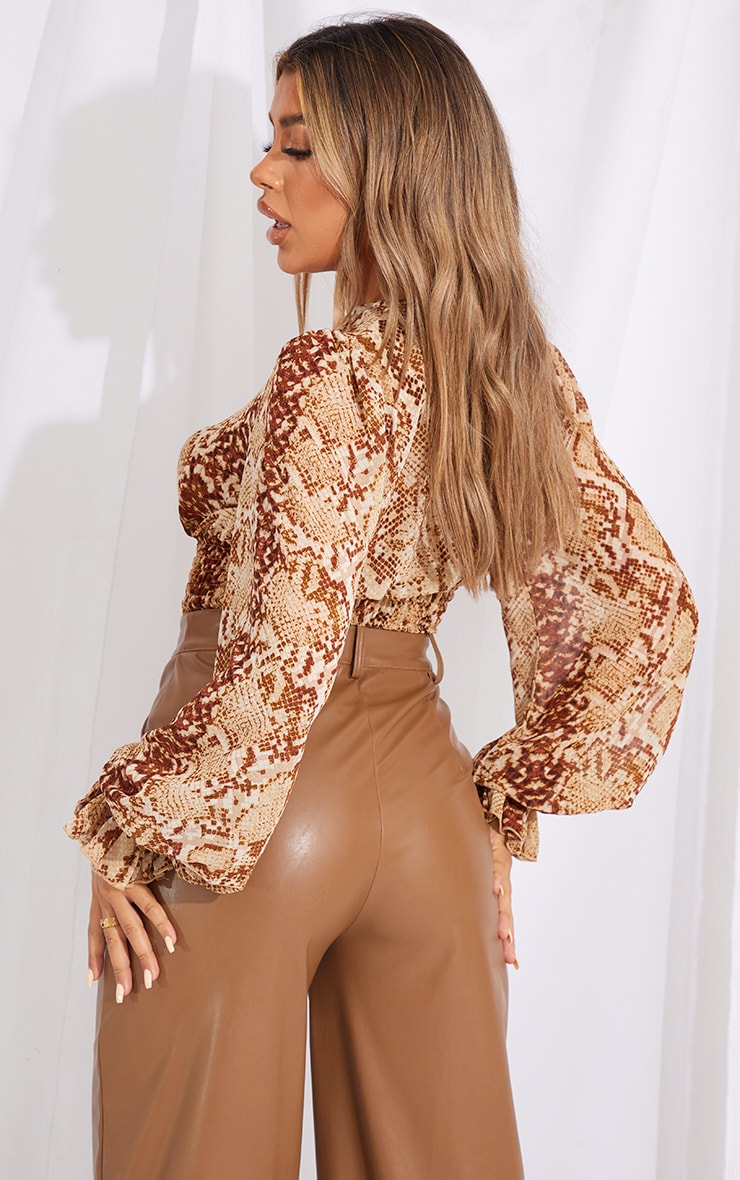 Beige Woven Animal Print Ruched Waist Long Sleeve Blouse 2