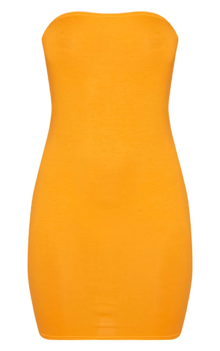 Lorrie Bright Orange Bandeau Bodycon Dress 4