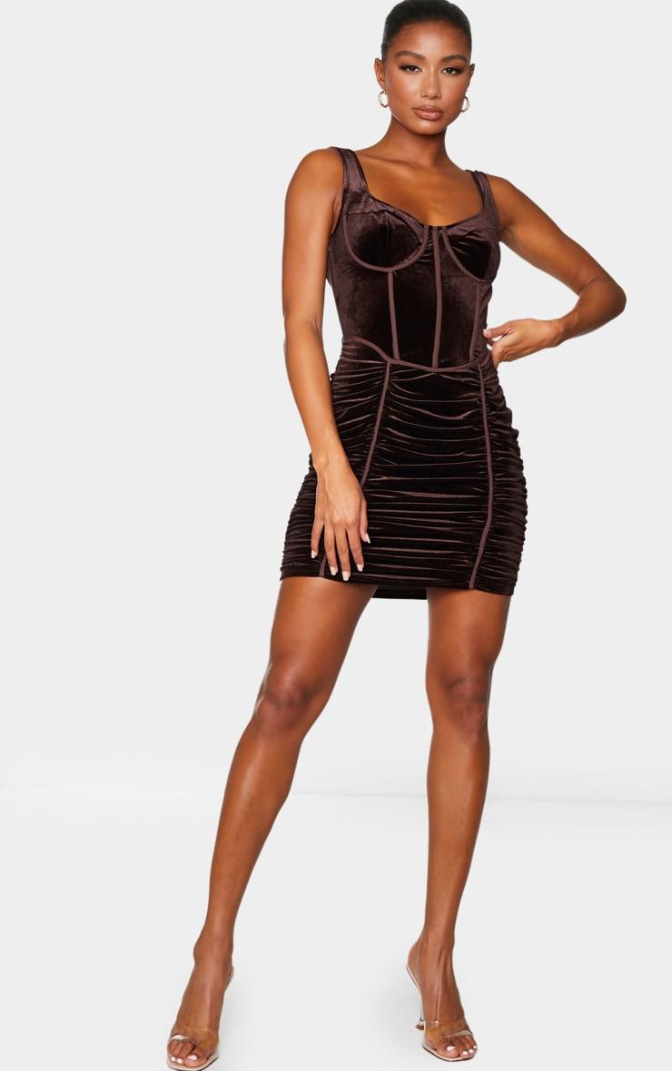 Chocolate Velvet Corset Ruched Binding Detail Bodycon Dress 1