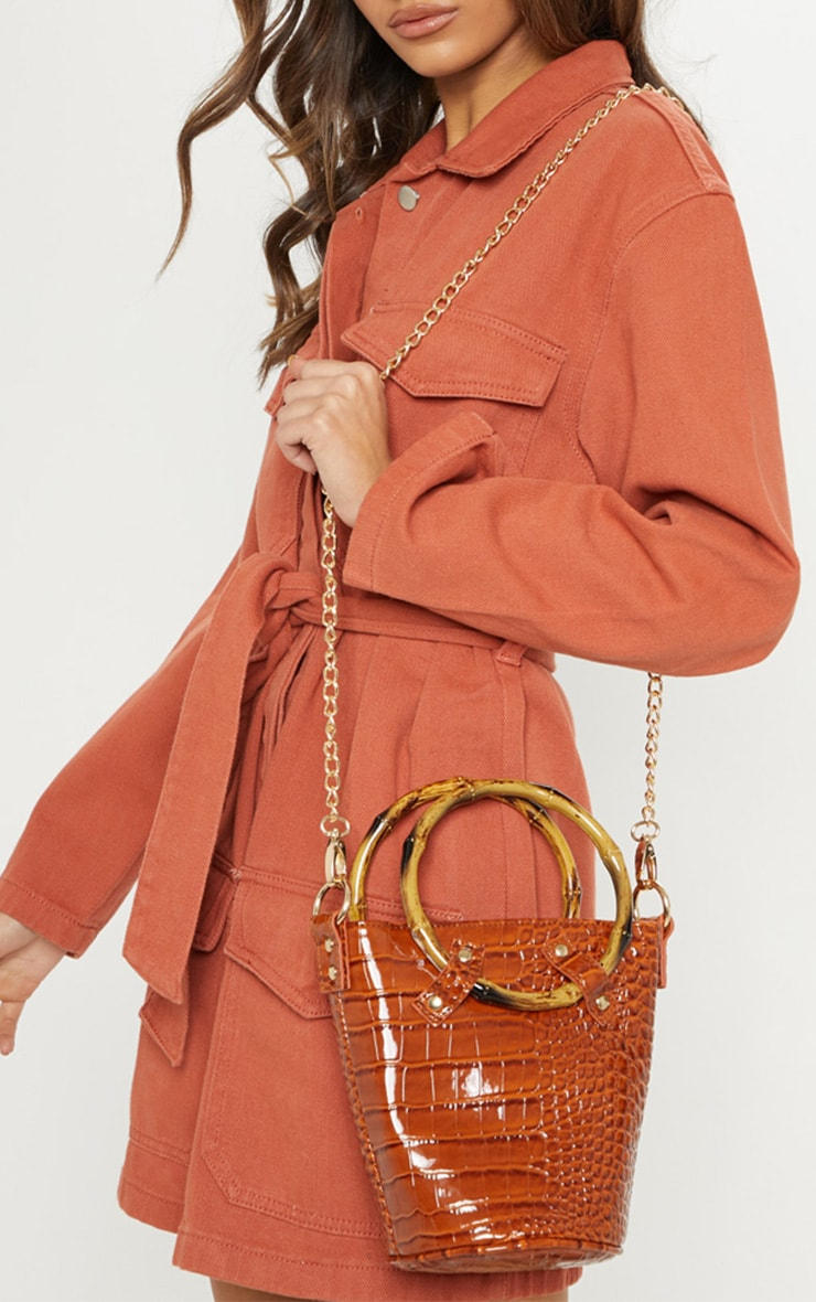 Tan Croc PU Bamboo Bucket Bag
