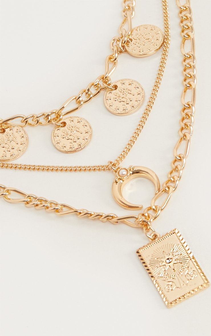 Gold Multi Layer And Disc Charms Necklace 4